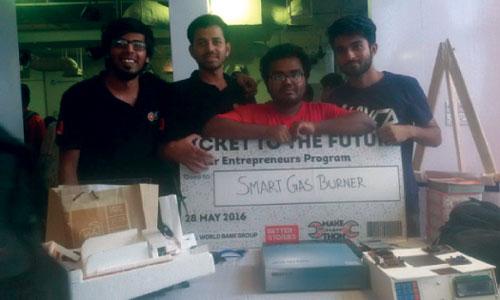 Alpha-Omega team of Khulna University got ICT funding of 5 Laks for Smart Gas Burner